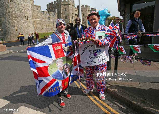 Royal super fan Terry Hutt waits outside Windsor Castle in Berkshire following the announcement of the birth of a baby boy to the Duke and Duchess of...