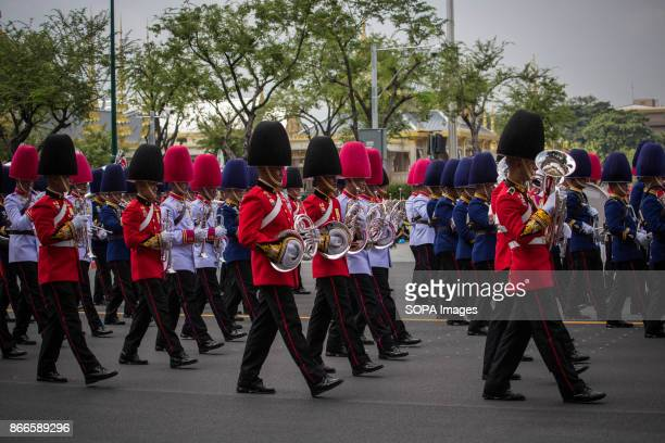 Royal Thai Army soldiers are seen taking part of the funeral ceremony of late Thailand's King Bhumibol Adulyadej. Thailands Late King Bhumibol...