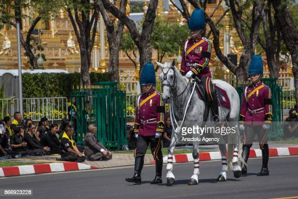 Royal Thai soldiers are seen taking part of the Royal Ceremony as they transfer the Thailand's Late King Bhumibol Adulyadej's relics into the Dusit...