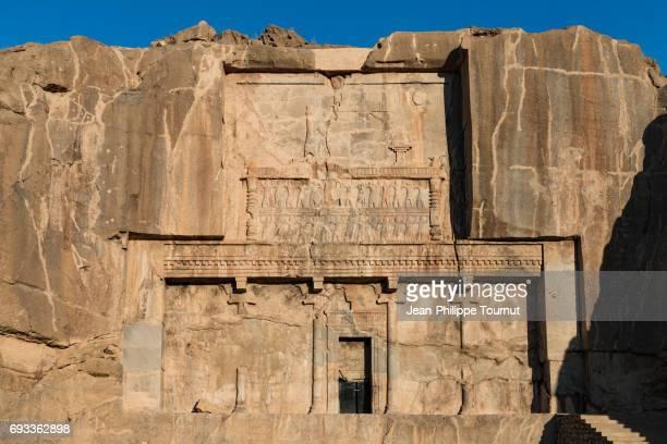royal tomb of artaxerxes ii mnemon (404bc-358bc) near the ancient city ruins of persepolis, shiraz, fars province, iran - mesopotamian art stock photos and pictures