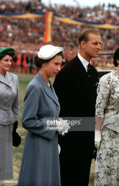 1954 Royal Tour of Australia Queen Elizabeth II and Prince Philip the Duke of Edinburgh are pictured at a childrens rally Wayside Oval Adelaide