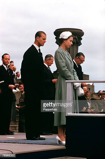 1954 Royal Tour of Australia Queen Elizabeth II and Prince Philip the Duke of Edinburgh are pictured at the Rememberance ceremony held in Melbourne