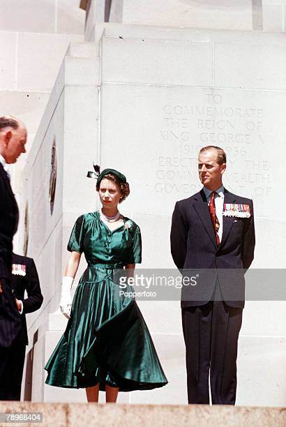 1954 Royal Tour of Australia Queen Elizabeth II and Prince Philip the Duke of Edinburgh are pictured standing beneath the King George V Memorial at a...