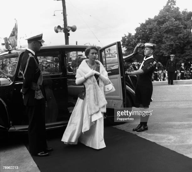 Royal Tour of Australia Queen Elizabeth II and the Duke of Edinburgh are pictured arriving at Parliament House Hobart for the State Opening of...