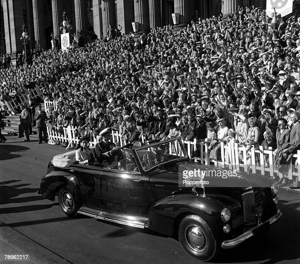Royal Tour of Australia Queen Elizabeth II and the Duke of Edinburgh are pictured leaving in the Royal car after receiving an address of welcome from...