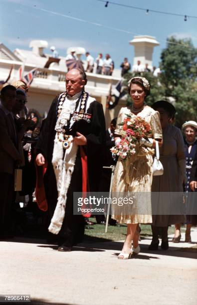 1954 Royal Tour of Australia The Mayor of Wagga Wagga Alderman WF Dunne escorts Queen Elizabeth II from the official dais after the civic reception