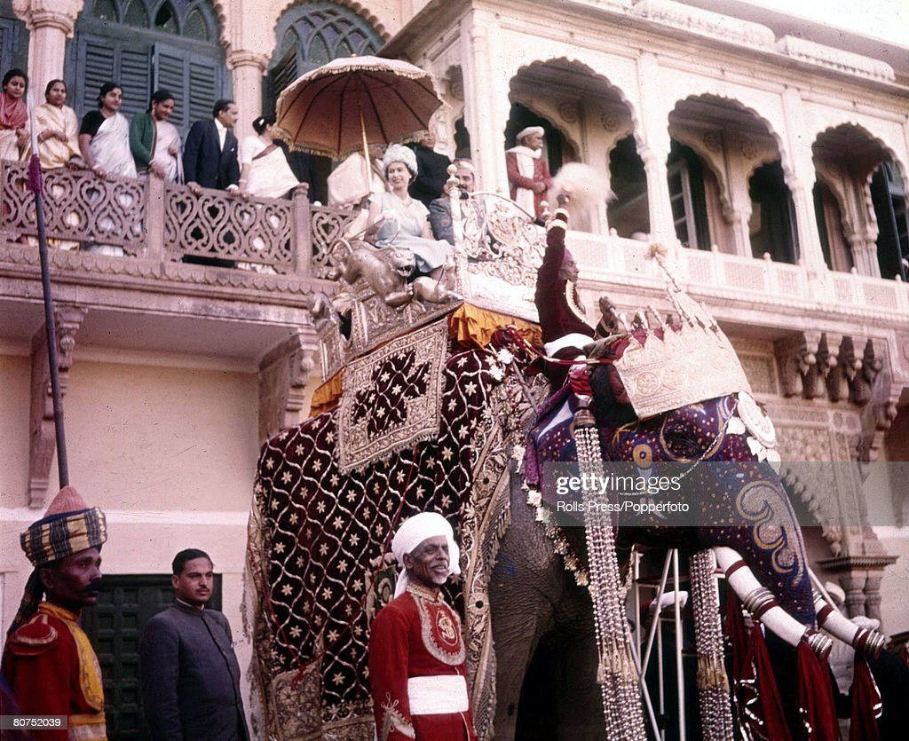 Royal Tour of India 1961. Queen Elizabeth II is pictured riding an elephant during her visit. : News Photo