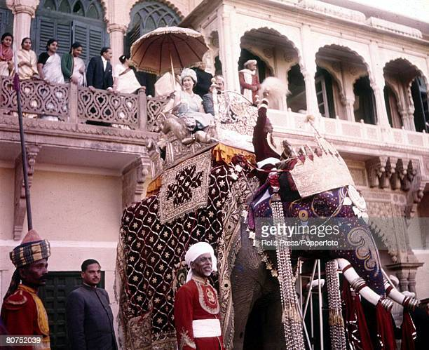 Royal Tour of India Queen Elizabeth II is pictured riding an elephant during her visit