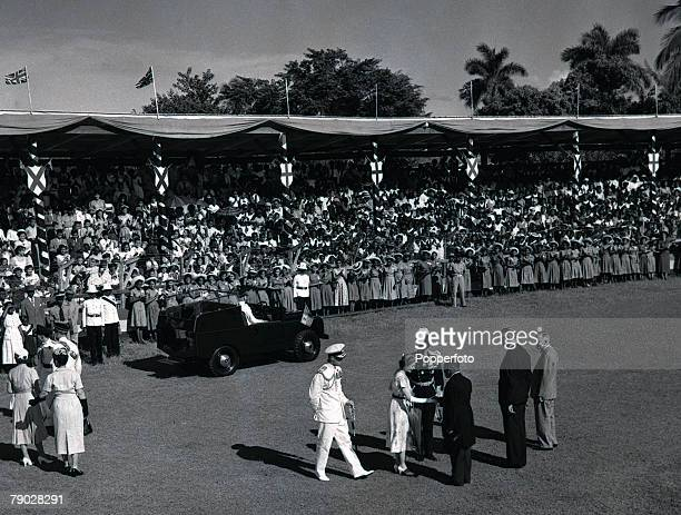 Royal Tour of Jamaica, December Her Majesty Queen Elizabeth II and Prince Philip, the Duke of Edinburgh before their drive around Sabina Park, home...