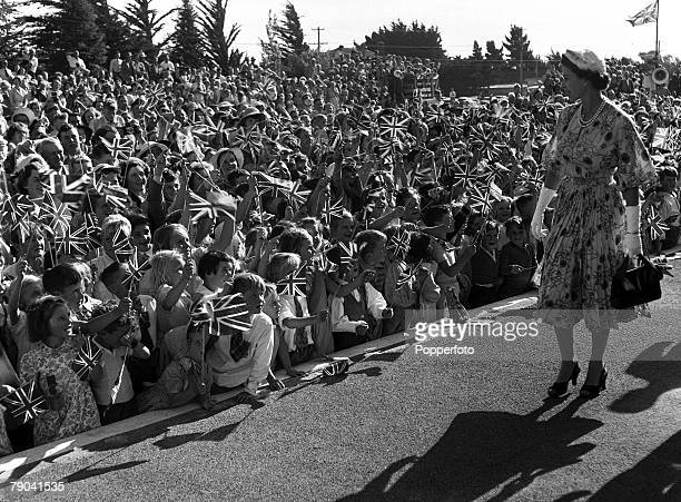 Royal Tour of New Zealand 26th January 1954 Queen Elizabeth walks past hundreds of flag waving children along the platform at Darfield when the Royal...