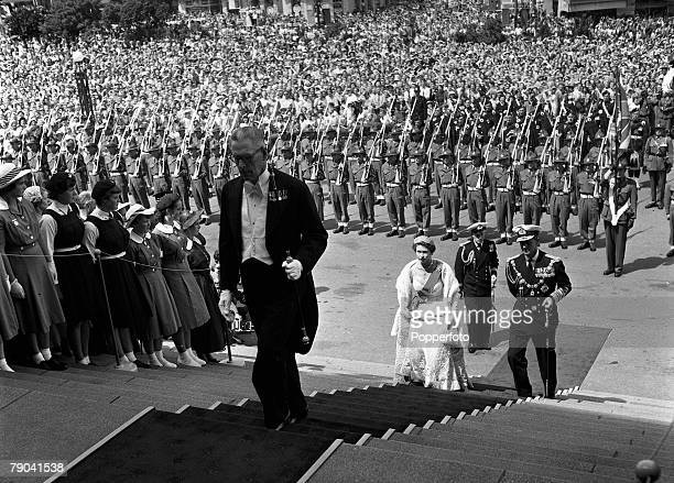 Royal Tour of New Zealand 26th January 1954 Queen Elizabeth wearing her Coronation dress and the Order of the Garter arrives with the Duke of...