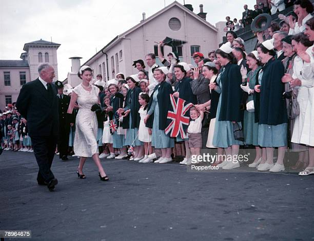 1954 Royal Tour of New Zealand Queen Elizabeth II is pictured at Auckland Hospital lined with nurses