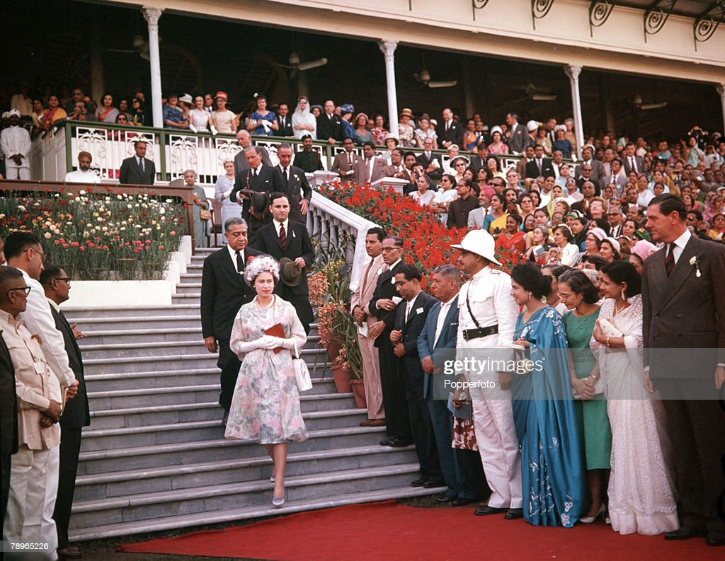 1961. Royal Tour to India. Queen Elizabeth II is pictured at Calcutta Horse Races. : News Photo