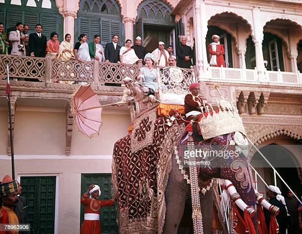 1961 Royal Tour to India Queen Elizabeth II is pictured taking an elephant ride in the town of Banares