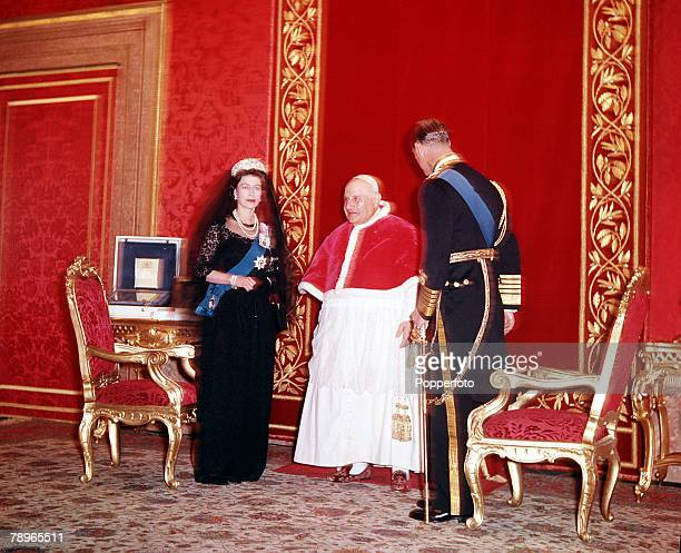 1961 Royal Tour to Italy Queen Elizabeth II and Prince Philip the Duke of Edinburgh are pictured meeting Pope John 23rd at the Vatican Rome
