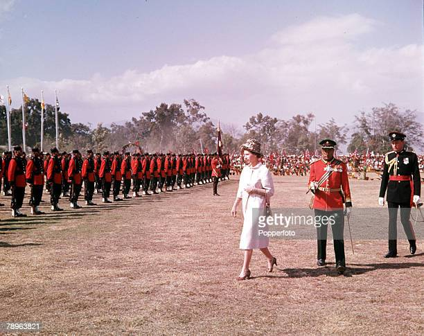 1961 Royal Tour to Nepal Queen Elizabeth II is pictured inspecting troops in Katmandu