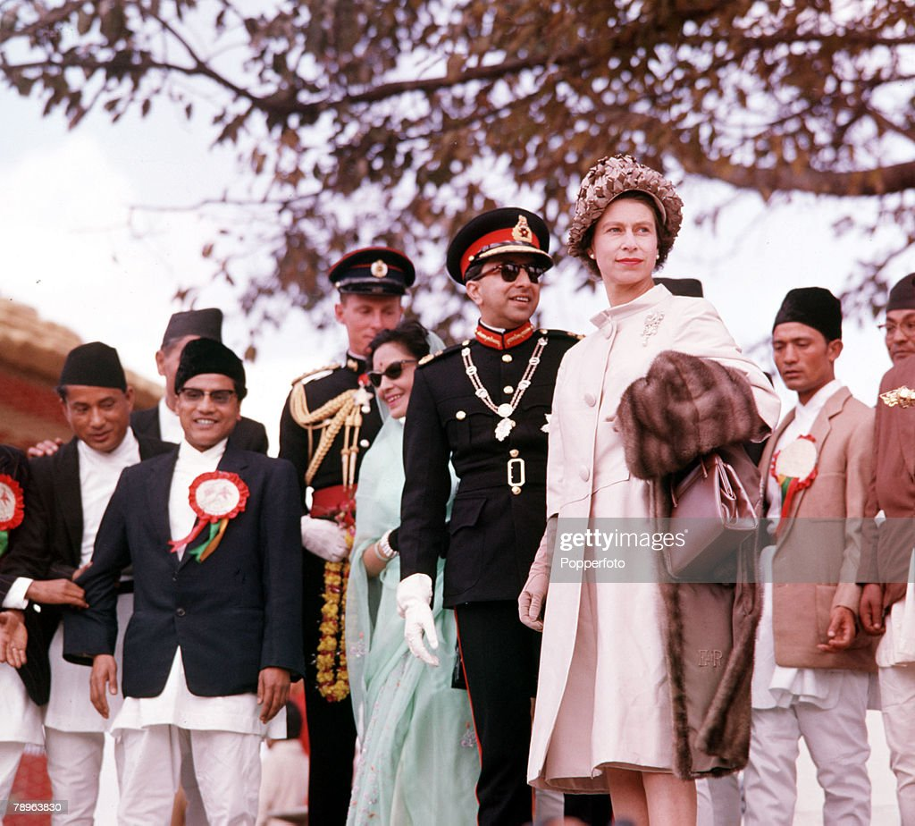 1961. Royal Tour to Nepal. Queen Elizabeth II is pictured with the King of Nepal in Katmandu. : News Photo