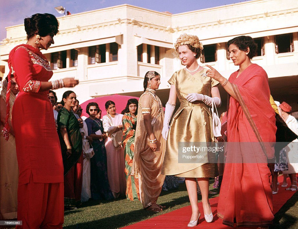 1961. Royal Tour to Pakistan. Queen Elizabeth II is pictured at a costume parade in Karachi. : News Photo