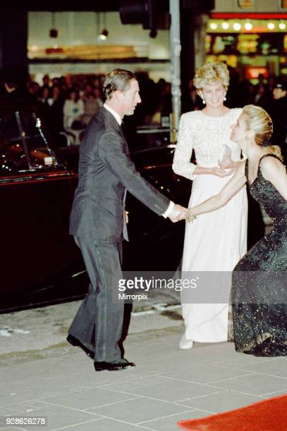 Royal Variety Performance, Dominion Theatre, London, Monday 7th December 1992. Arrival of Prince Charles & Princess Diana, wearing pink-tinged,...