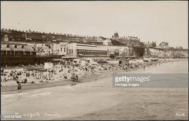 Royal Victoria Pavilion, Harbour Parade, Ramsgate, Thanet, Kent, c1926-c1939.. A general view showing Ramsgate sands, with a partial view of the...
