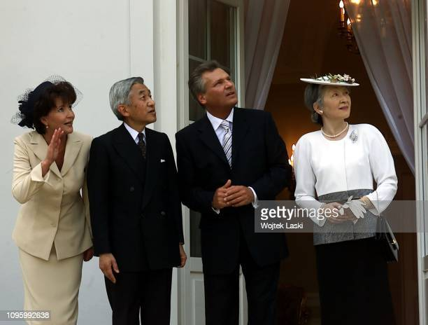 Royal visit of the Japanese Emperor Akihito with Empress Michiko to Warsaw they were greeted by President Aleksander Kwasniewski with wife Jolanta...