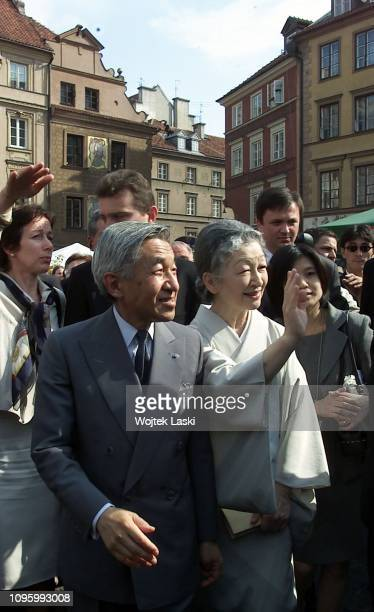 Royal visit of the Japanese Emperor Akihito with Empress Michiko to Warsaw; they were greeted by President Aleksander Kwasniewski with wife Jolanta,...