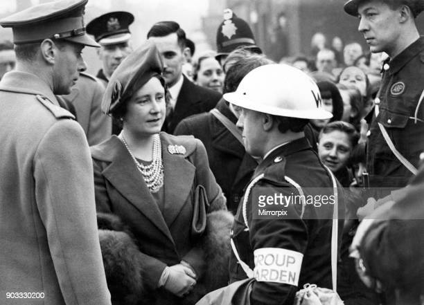 Royal visit to Salford King George VI Queen Elizabeth talking to a group warden in Salford Feb 1941