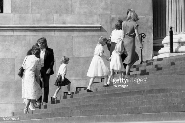 Royal wedding dress designer David Emanuel Walks up the steps of St Paul's Cathedral behind the bridesmaids [from Centreleft Catherine Cameron Sarah...