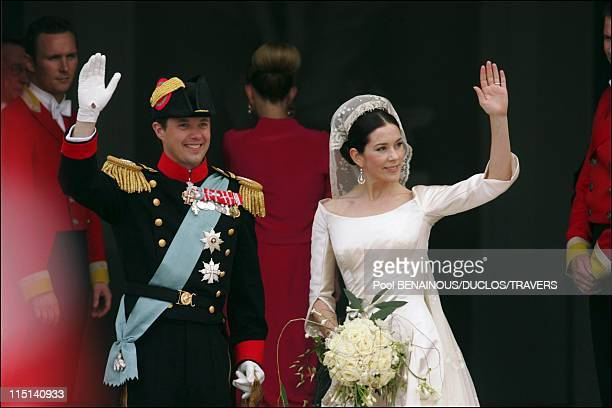 Royal wedding of Prince Frederik and Mary Donaldson Ceremony at the balcony in Copenhagen Denmark on May 14 2004