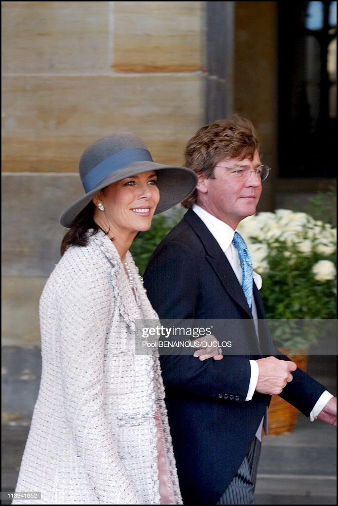 Royal Wedding of the Prince Willem-Alexander with Maxima Zorreguieta In Amsterdam, Netherlands On February 02, 2002-Princess Caroline of Monaco and husband Ernst-August von Hanover.
