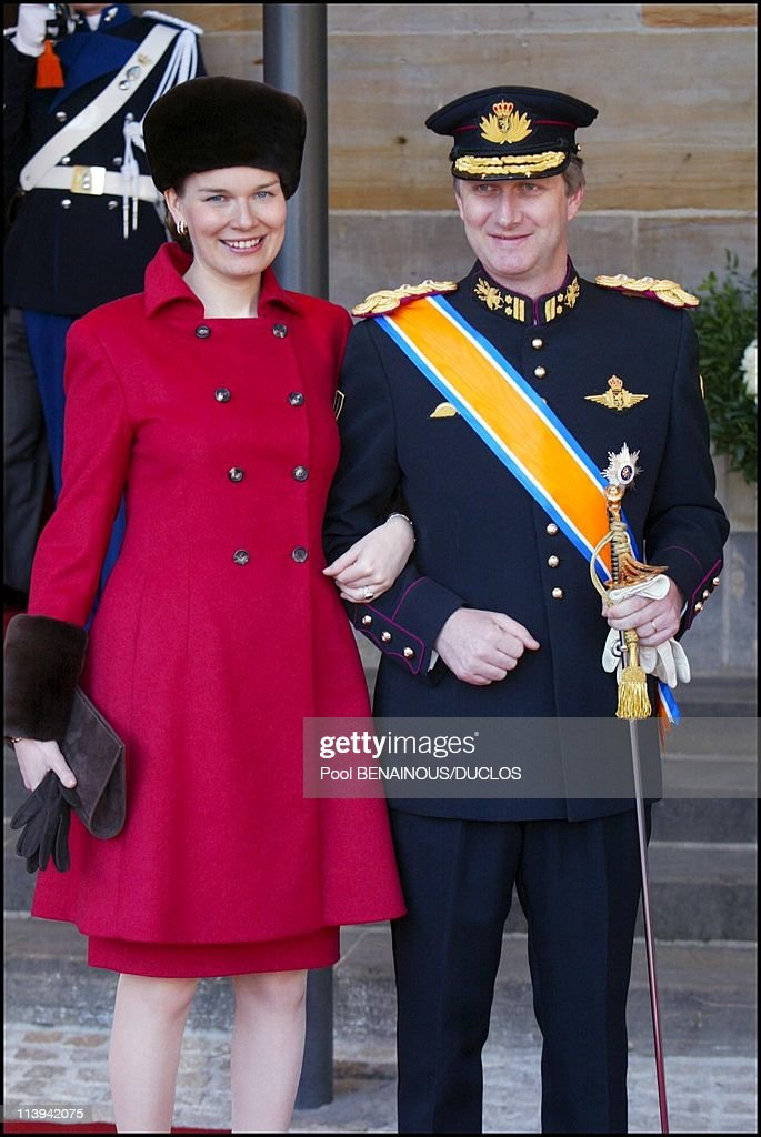 Royal Wedding of the Prince Willem-Alexander with Maxima Zorreguieta In Amsterdam, Netherlands On February 02, 2002-Prince Philippe of Belgium and wife Mathilde.