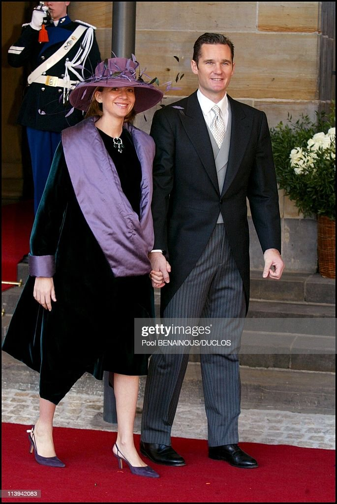 Royal Wedding of the Prince Willem-Alexander with Maxima Zorreguieta In Amsterdam, Netherlands On February 02, 2002-Princess Christina of Spain and husband Inaki Urdangarin.