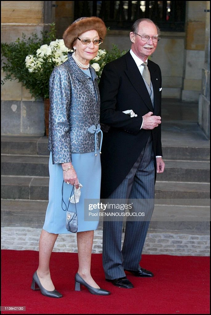Royal Wedding of the Prince Willem-Alexander with Maxima Zorreguieta In Amsterdam, Netherlands On February 02, 2002-Grand Duke Jean of Luxembourg and wife Josephine-Charlotte.