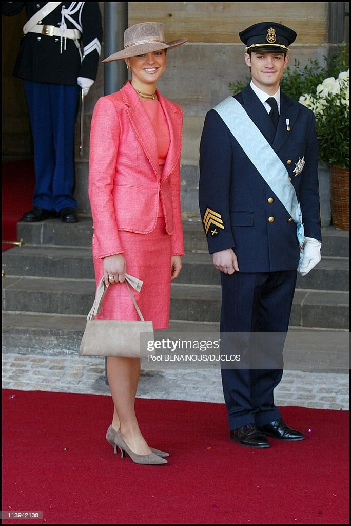 Royal Wedding of the Prince Willem-Alexander with Maxima Zorreguieta In Amsterdam, Netherlands On February 02, 2002-Princess Madeleine and her brother Karl-Philip of Sweden.