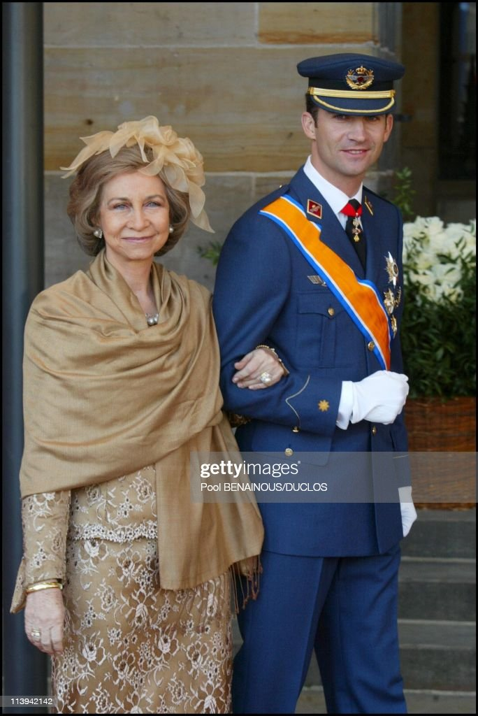 Royal Wedding of the Prince Willem-Alexander with Maxima Zorreguieta In Amsterdam, Netherlands On February 02, 2002-Queen Sofia and son Prince Felipe of Spain.