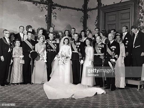 Royal Wedding Oslo Norway The state picture from the Royal Castle in Oslo First row from left President Kekkonen of Finland and wife King Badouin...
