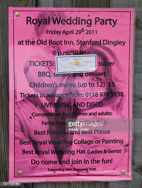 Royal Wedding Party Poster In The Village Of Stanford Dingley Near Tio Bucklebury In Berkshire Where Kate Middleton'S Parents Ichael And Carole...