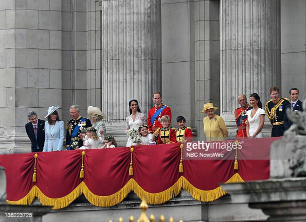 TODAY Royal Wedding Pictured Michael Middleton Carole Middleton Prince Charles Camilla Duchess of Cornwall bridesmaids Grace van Cutsem Lady Louise...