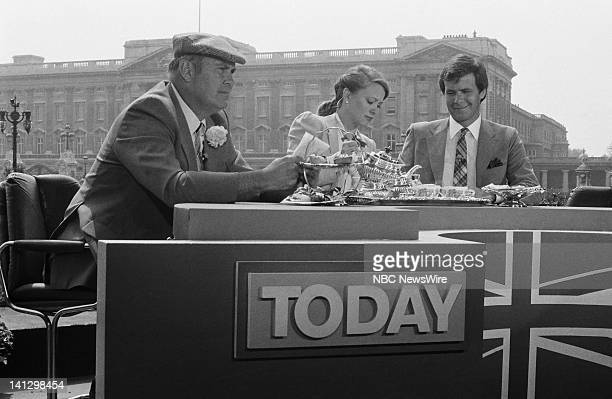 NBC News' Willard Scott Jane Pauley Tom Brokaw in front of Buckingham Palace covering the Royal Wedding of Prince Charles and Lady Diana Spencer on...