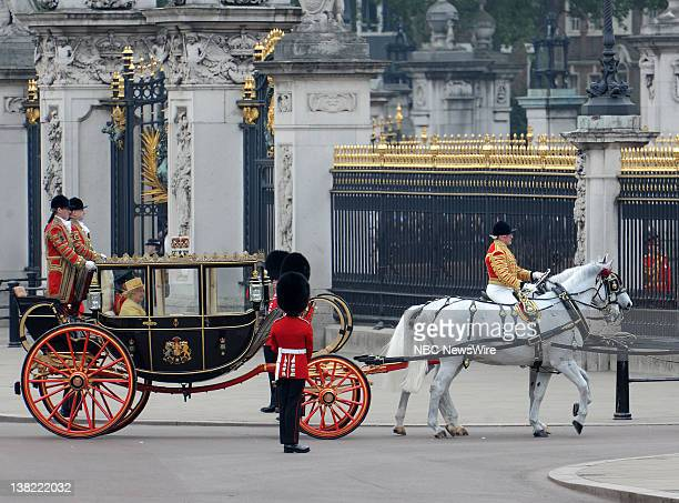 TODAY 'Royal Wedding' Pictured Queen Elizabeth II and Prince Philip ride in their carriage en route to Buckingham Palace during the Royal Wedding of...