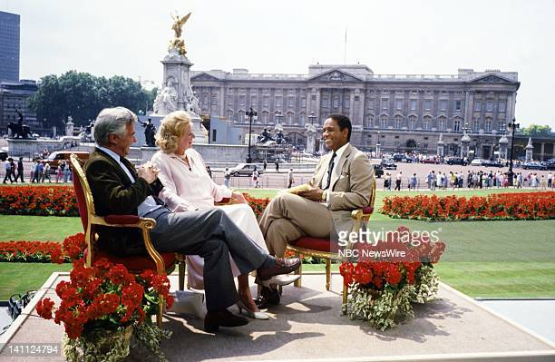 """Royal Wedding: Prince Andrew and Sarah Ferguson"""" -- Pictured: Actor/director/writer Bryan Forbes, writer Evelyn Anthony, NBC News' Braynt Gumbel at..."""