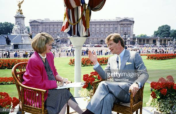 TODAY Royal Wedding Prince Andrew and Sarah Ferguson Pictured NBC News' Jane Pauley actor Anthony Andrews at Buckingham Palace in London England on...