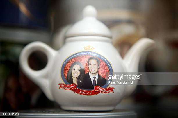 Royal Wedding souvenir tea pot is displayed for sale on March 31 2011 in London England Prince William will marry Kate Middleton at Westminster Abbey...