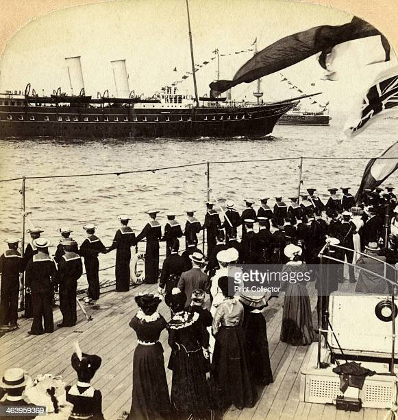 Royal Yacht passing the battleship HMS 'Nile', Coronation Review, Spithead, Hampshire, 1902. Stereoscopic card detail.