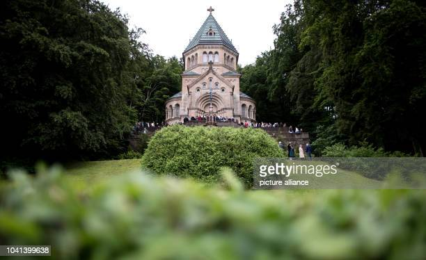 Royalists have gathered in front of the Votivkapelle chapel during an event held in memory of King Ludwig II of Bavaria in Berg Germany 12 June 2016...