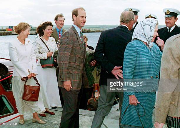 Royals Arriving At Scrabster Harbour Scotland During Their Holiday Cruise Queen Prince Edward Sophie Lord Ivar Mountbatten And His Wife