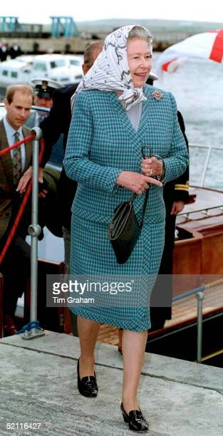 Royals Arriving At Scrabster Harbour Scotland To Meet The Queen Mother During Their Cruise On Royal Yacht Britannia Around The Western Isles