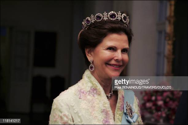 Royals arriving at the dinner offered to Prince Frederik and Mary Donaldson for their wedding in Copenhagen, Denmark on May 14, 2004 - Queen Silvia.