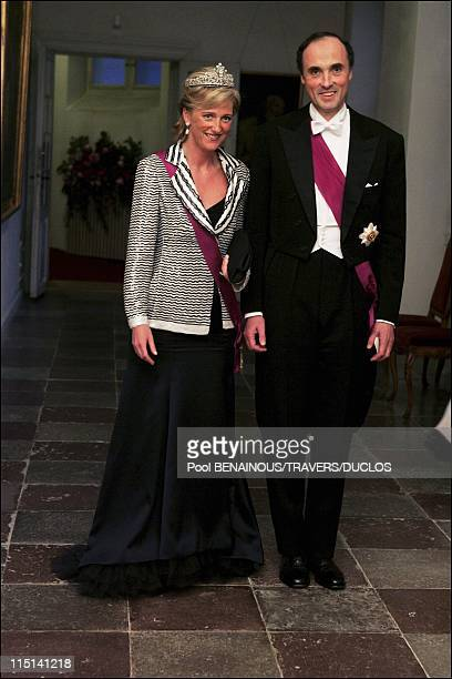 Royals arriving at the dinner offered to Prince Frederik and Mary Donaldson for their wedding in Copenhagen Denmark on May 14 2004 Princess Astrid...