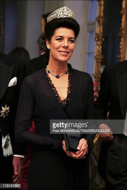 Royals arriving at the dinner offered to Prince Frederik and Mary Donaldson for their wedding in Copenhagen Denmark on May 14 2004 Princess Caroline